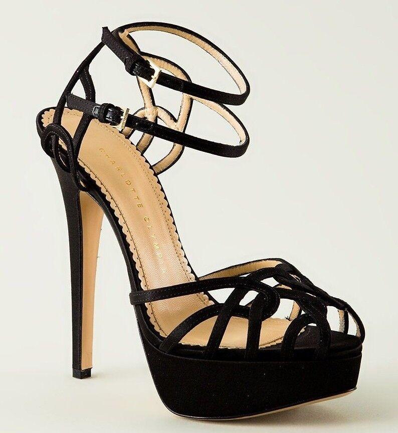 n ° 1 online    1095 New Charlotte Olympia URSULA Strappy Satin Platform Sandals nero scarpe 41  designer online