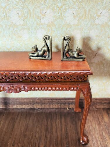 Dollhouse Miniature Kitty Cat Bookends Antique Bronze 1:12 Scale Accessory