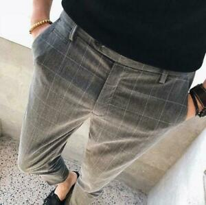 Mens-Plaids-Check-Slim-Cropped-Pants-Casual-Trousers-Skinny-Formal-Dress-Leisure