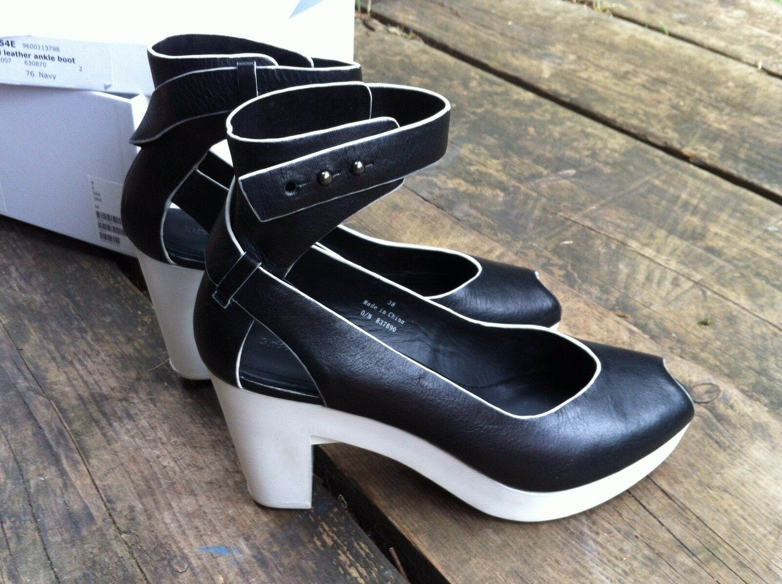 And Other Stories....Black Leather Ankle Strap white Rubber Heel shoes size Uk 38