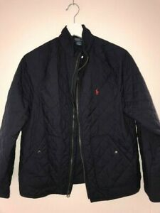 New luxury Polo Ralph Lauren light quilted navy blue jacket boy's L 14 -16 $145