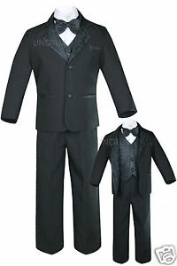 New Black Baby,Toddler & Boy Wedding Formal Tuxedo Suit S M L XL 2T 3T 4T 5,6-20