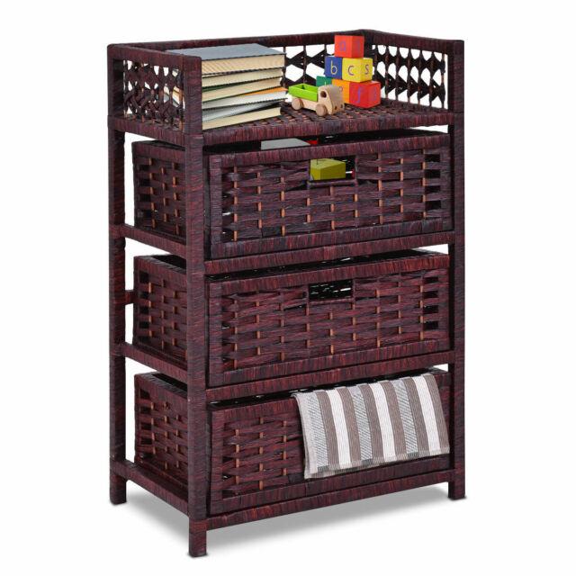 Charmant Drawer Storage Unit Tower Shelf 3 Wicker Baskets Storage Chest Rack