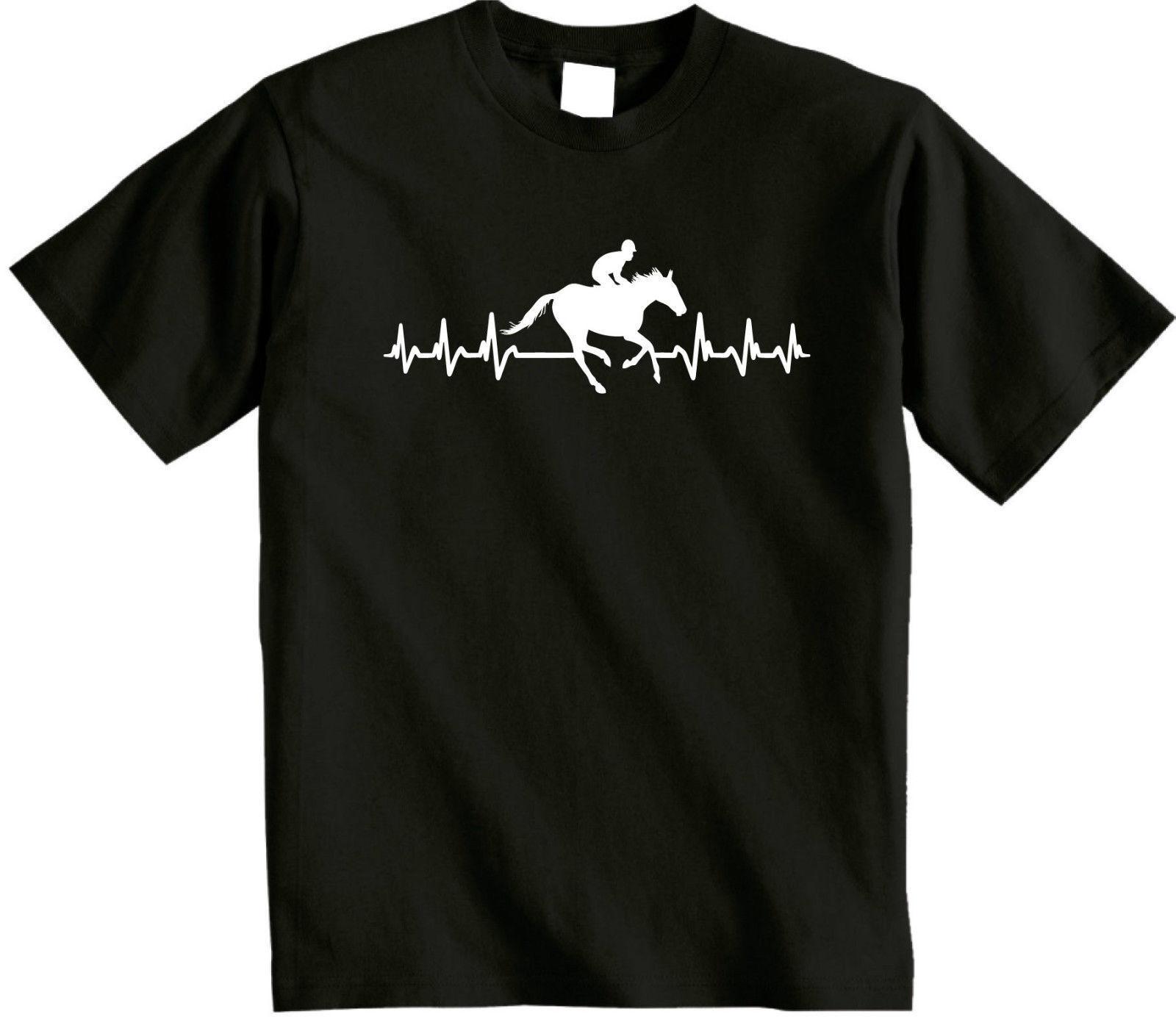Il dans est dans Il mon pouls Équitation T Shirt Jockey T-shirt Courses de Chevaux cœur Top 792908