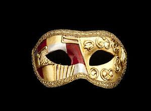 Maschera-Di-Venezia-Columbine-Art-Deco-Rosso-Autentica-Carta-Cartapesta-265