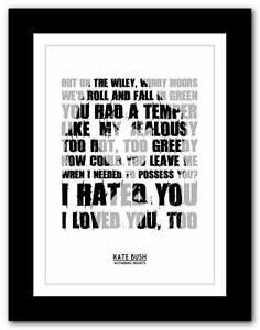 KATE-BUSH-Wuthering-Heights-song-lyrics-typography-poster-art-print-A1-A2-A3