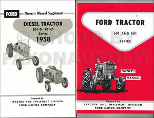 1958 1962 ford tractor 601 801 diesel owners manual set 821 841 851 rh ebay com ford 801 powermaster owners manual ford 801 shop manual