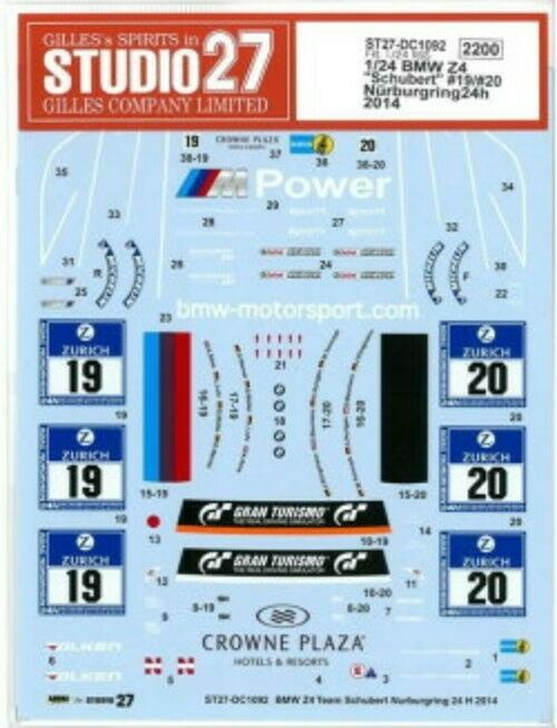 Entrega gratuita y rápida disponible. Studio27 1 24 BMW Z4  Schubert      19   20 Nurburgring 24h 2014 Dc1092 Calcamonía  comprar ahora