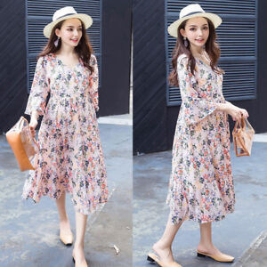V-neck-Floral-Dress-Maternity-Ruffles-Sleeve-Mid-calf-Chiffon-Elegant-S-M-L-XL
