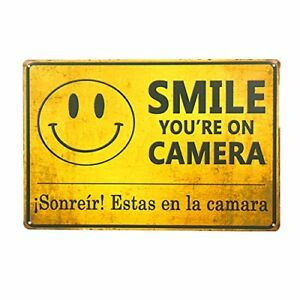 Smile-You-039-re-on-Camera-Video-Surveillance-Metal-Tin-Sign-8-034-x-12-034