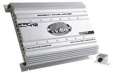 Lanzar VIBE412 1000W Max 4-Channel Class AB Car Amplifier/Amp w/ Bass Remote