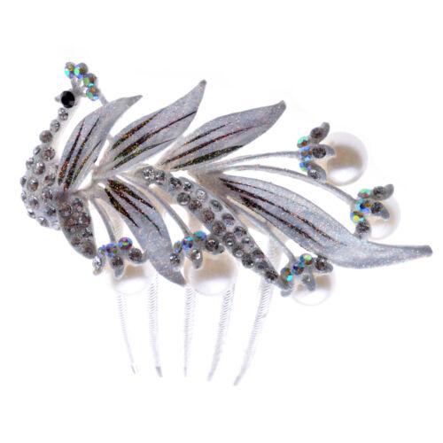 Mariage Cheveux Accessoires blanc strass brillant Paon Corsage Peigne HA159