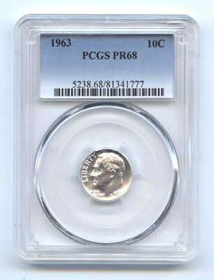 PR68 1963 90/% SILVER ROOSEVELT DIME PCGS GRADED 10C PROOF COIN LIBERTY US PR 68