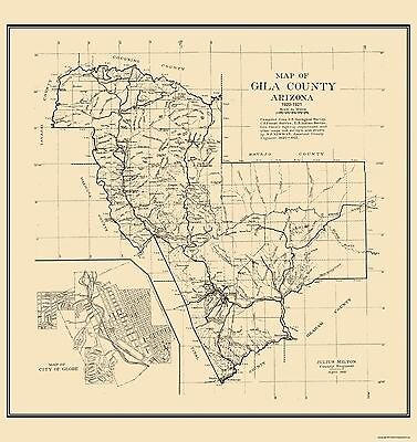 Map Of Old Arizona.Gila Arizona Newman 1921 23 X 24 38 Ebay