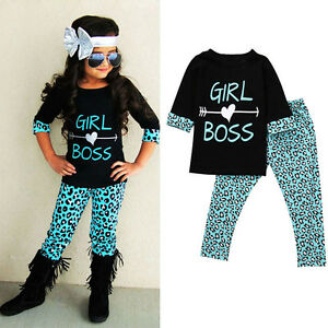 2PCS-Child-Toddler-Kids-Baby-Girl-Outfits-T-shirt-Tops-Long-Pants-Clothes-Set-UK