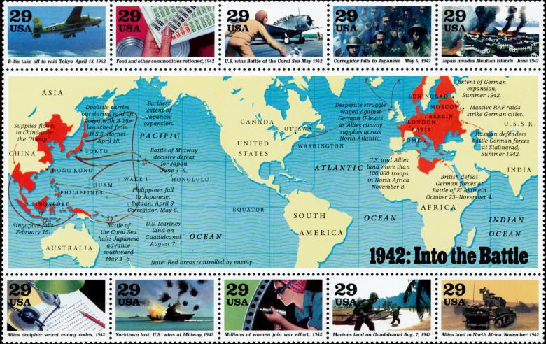 1992 29c World War II Into the Battle Souvenir Sheet of