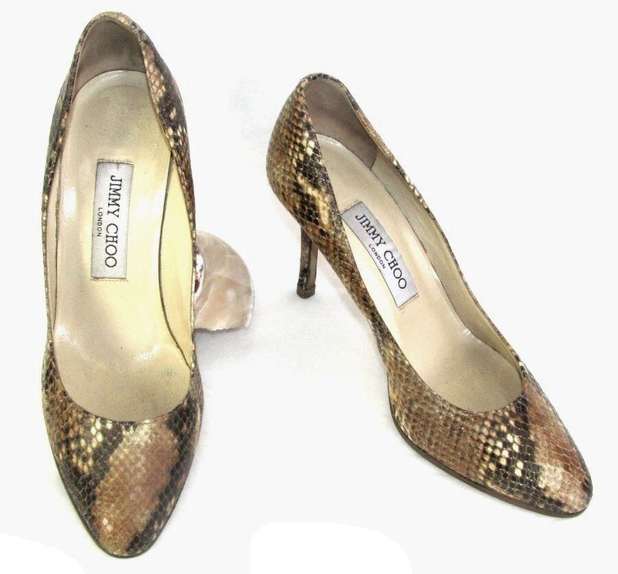 JIMMY CHOO Zapatos tacones 9 cm pitón auténtico 37 37 37 EXCELENTE ESTADO fd76f6