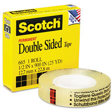 Scotch 665 Double-Sided Office Tape, 1/2 x 900, 1 Core, Clear, RL - MMM665129