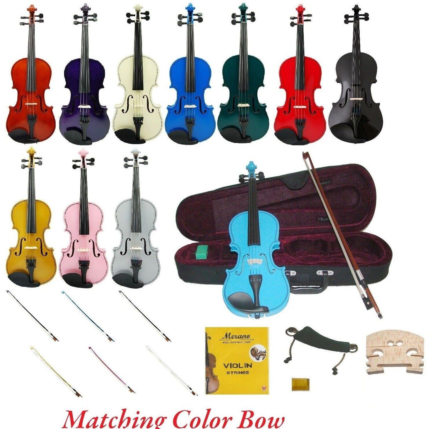 NEW STUDENT VIOLIN,2 BOWS, Case,2 Sets Strings,2 Bridges,Shoulder Rest,Rosin