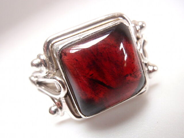 Elegant Garnet Square Ring Solid 925 Sterling Silver Sz 6.75 to 9.25