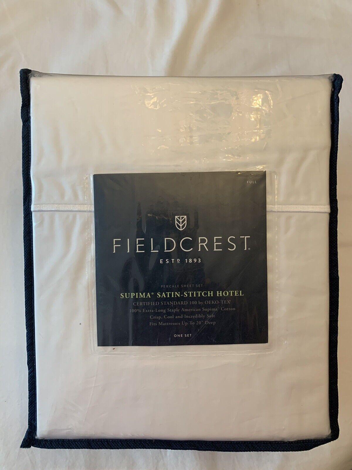 Suprima Satin Stitch Hotel Sheet Set, 300 TC-Fieldcrest-Complet, Blanc-Neuf