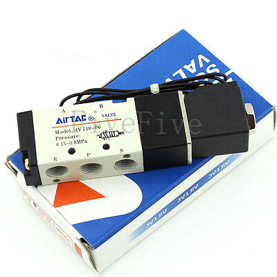 4V110-06 DC12V/24V AC110V Solenoid Air Valve 5 port 2 position for air cylinder