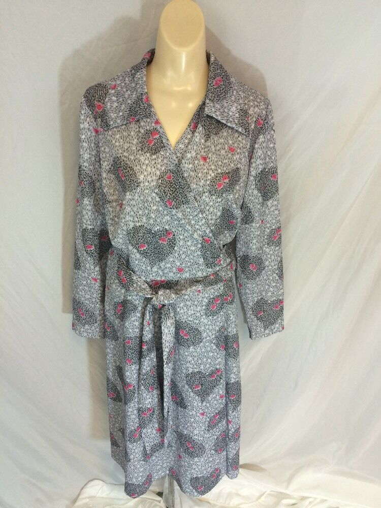 Vtg 1960s Womens Pretty Pam Wrap Style Dress Polyester Grey Pink Mod Size 16