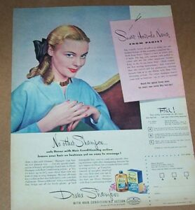 Details About 1945 Vintage Print Ad Drene Shampoo Hair Girl Young Hairdo Procter Gamble