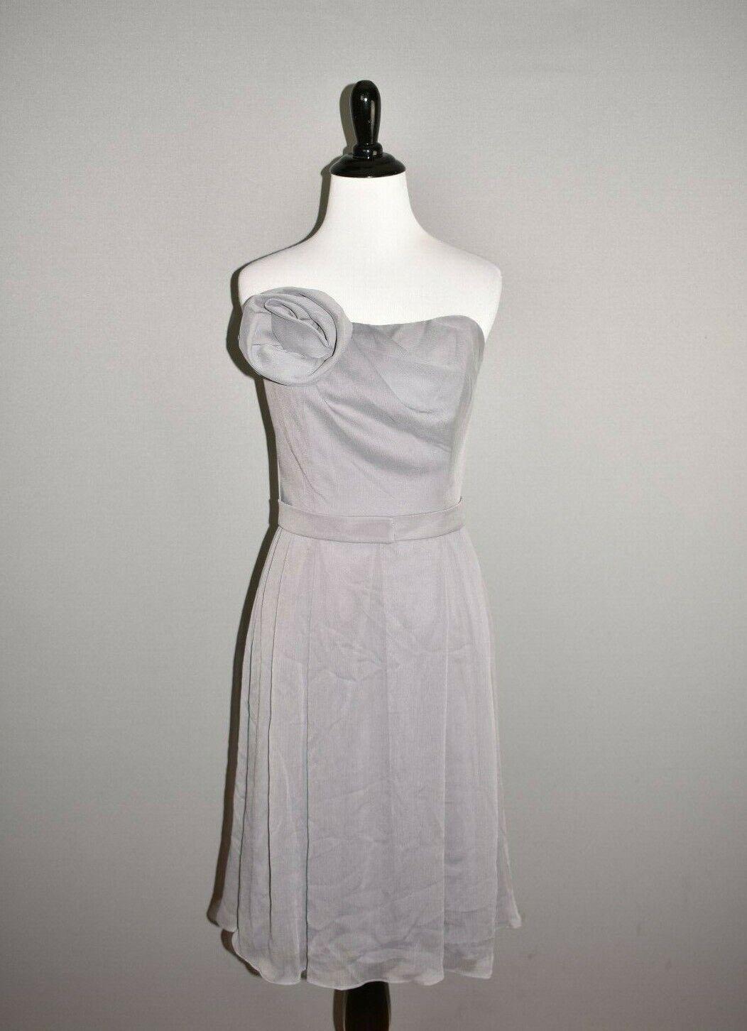 LELA ROSE NEW Gray Strapless Chiffon Bridesmaid Dress Size 8