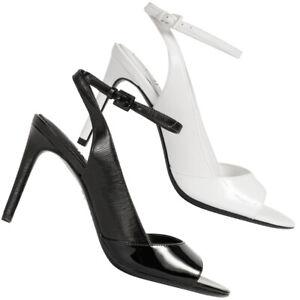Calvin Klein Rad Liquid Patent Damen Heel Sandalen Pumps schwarz weiß neu