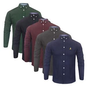 Homme-Brave-Soul-Premium-Gamme-100-Coton-Brosse-Bloc-Couleur-Chemise-A-Manches-Longues