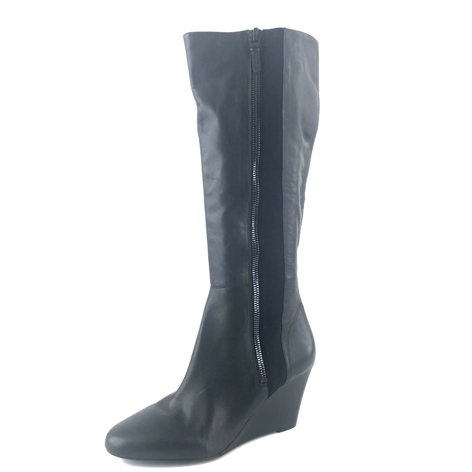 Via Spiga Alicia Womens Black Leather Zip Up Wedge Knee High Boots Size 10.5 M