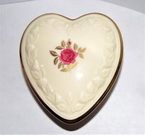 Vintage Lenox Heart Shaped Rose Pattern Trinket Box