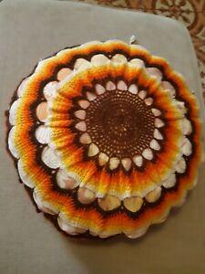 Amical Coussin Tournesol Fleurs Soleil Laine Crochet Vintage Retro Kitsch 60 70 Fait Ma
