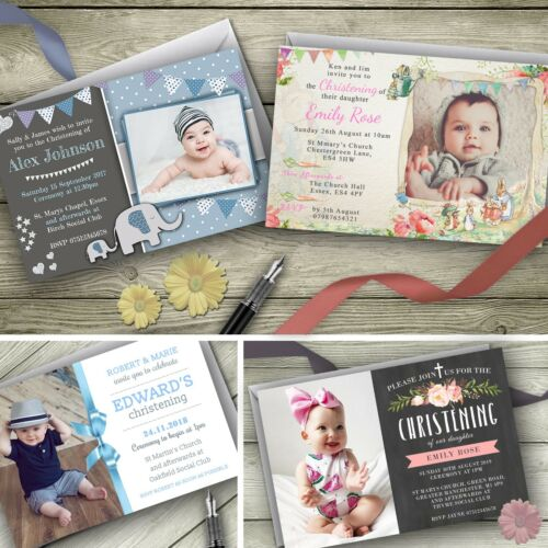 Baptism Party Invites envelopes included Personalised Christening Invitations