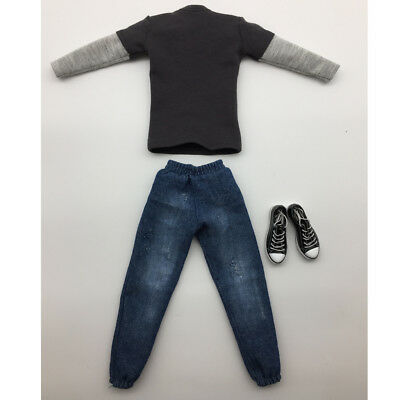 "1//6 Scale Man Clothing Dark Gray Long T-shirt Jeans Shoes Set For 12/"" Figure"