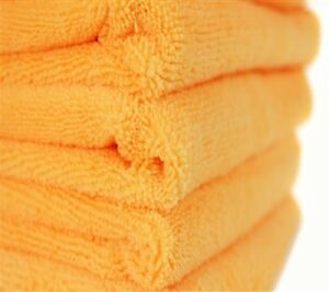 96 ORANGE MICROFIBER TOWELS NEW CLEANING CLOTHS BULK 16X16 MANUFACTURERS SALE