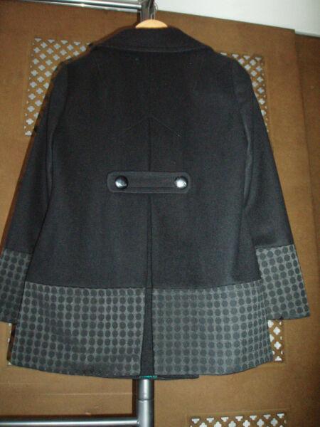 12 Donna Betty Jackson Black Coat 80% Lana Indossata Una Volta-vedi I Dettagli Pis &