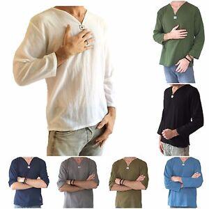 Men-039-s-Hippie-Shirt-100-Cotton-V-Neck-Beach-Summer-Yoga-Top-Soft-Cotton-Fashion