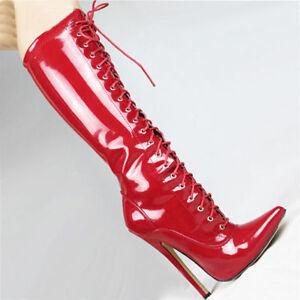 18cm de ballet gu Bottes rouge bottes en hauteur genou pvc wUxqU876