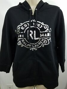 women-039-s-Polo-Jean-company-Hoodie-big-logo-silver-and-black-R1363