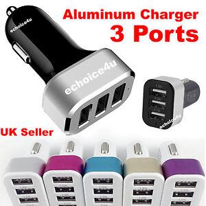USB-3-Port-12V-24V-UNIVERSAL-Car-Charger-Cigarette-Lighter-Socket-Adapter-UK