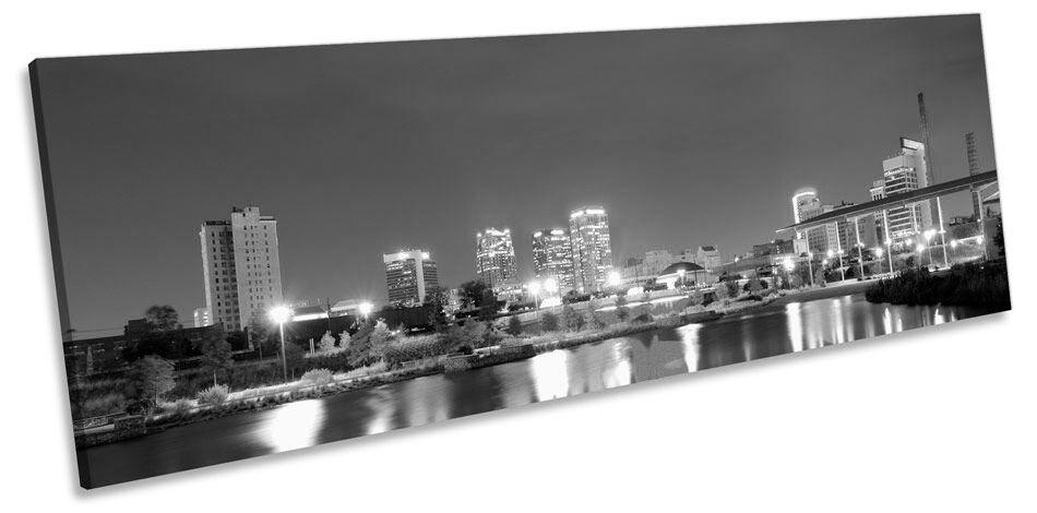 Birmingham Alabama City Skyline B&W Panorama CANVAS WALL ART Framed Print
