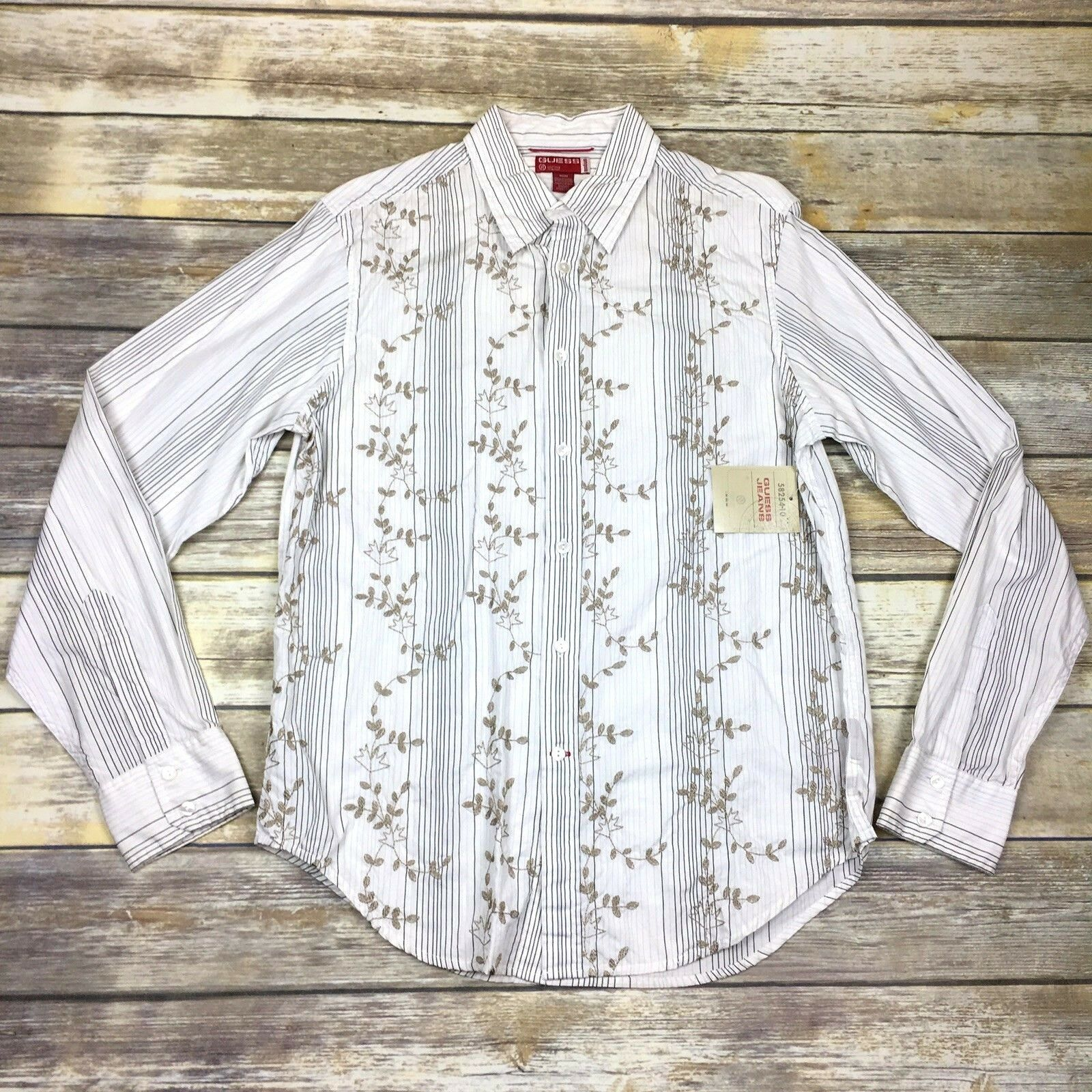 8fe577571 Vintage Guess Shirt Button Down Long Sleeve Embroidered White gold Mens M  NWT