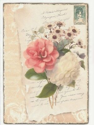 Rice Paper for Decoupage Scrapbook Craft Sheet Shabby Roses large