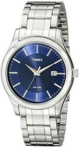 Timex-Men-039-s-Elevated-Classics-30m-Blue-Dial-Stainless-Steel-Watch-T2N9769J