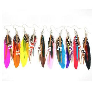 Tassel-Dangling-Earrings-Feather-Leather-Beads-Earrings-Indian-Feathers-TSCA