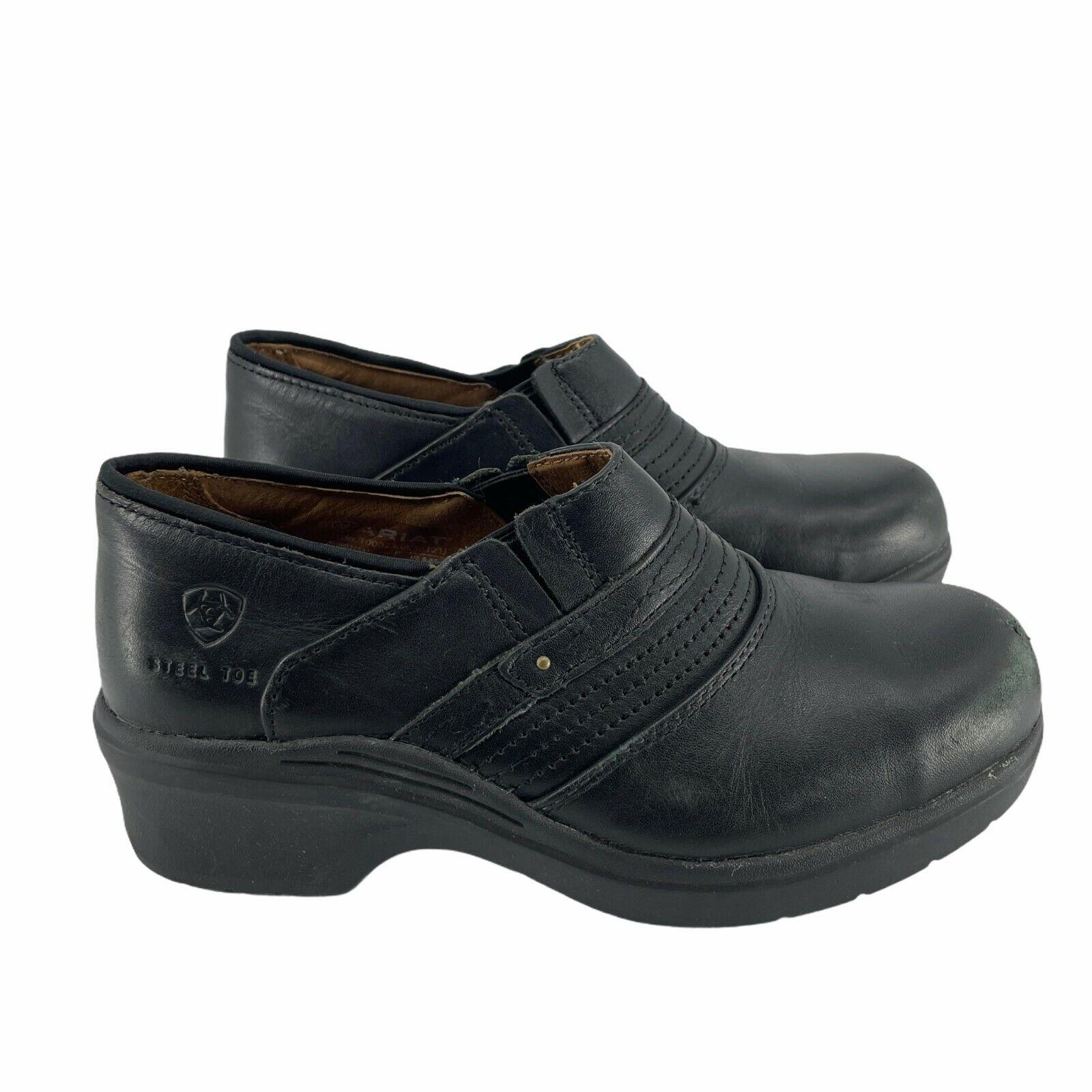 Ariat Women's Steel Toe Safety Clog Black Size 8.5B Full-Grain Leather