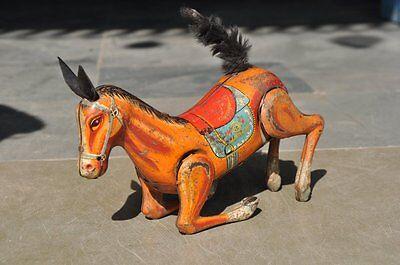 Vintage Windup Litho Daiya Trademark Jumping Horse Tin Toy, Japan