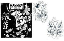 Japanese HANNYA MASK Tattoo Designs by Horimouja. Outline Stencil. GREAT BOOK